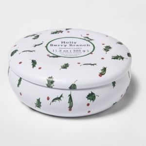 THRESHOLD NEW holly berry branch 11oz  tin candle